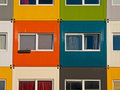 Colorful cargo containers used as home by students Stock Photos