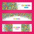 Colorful carnival confetti horizontal banners