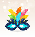 Colorful carnival or theater mask with feathers illustration Royalty Free Stock Photo