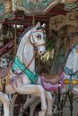 Colorful Carousel Horses in a Holiday Park, Merry-go-round Horse Royalty Free Stock Photo