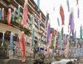 Colorful carp fish flags hanged for Koinobori Festival Royalty Free Stock Photo