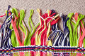 Colorful carpet tassles at the edge of a Royalty Free Stock Photo