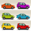 Colorful cars cartoon side view Royalty Free Stock Images