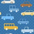 Colorful cars seamless pattern with on chequered background Stock Photo
