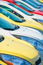 Colorful cars stock car dealership vehicles vertical photography Royalty Free Stock Photos