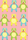 Colorful cartoon bears on a pink background Stock Photography