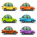 Colorful cartoon cars side view Stock Photography