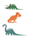 Colorful cartoon dinosaurs collection with triceratops tyrannosaurus and diplodocus Stock Image