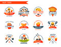 Colorful cartoon fast food label logo isolated restaurant tasty american cheeseburger badge mea meal vector illustration