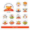 Colorful cartoon fast food label logo restaurant tasty american cheeseburger badge mea meal vector illustration