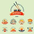 Colorful cartoon fast food label logo