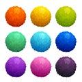 Colorful cartoon furry balls.