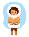 Colorful cartoon illustration cute small inuit girl traditional clothes Stock Photography