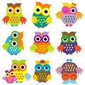 Colorful cartoon owls set