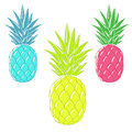 Colorful cartoon pineapples