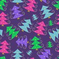 Colorful cartoon simple christmas tree pattern new year background Stock Images
