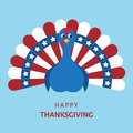 Colorful cartoon turkey bird for happy Thanksgiving day.