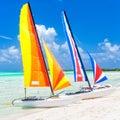 Colorful catamarans at a beach in cuba tropical Stock Photos