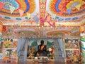 Colorful ceiling with black Buddha at Wat Phra See Mee Chai...., Vang Viang , Laos. Royalty Free Stock Photo
