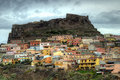 The colorful center of Castelsardo Stock Images