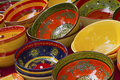 Colorful ceramic bowls ready for sale Stock Photos