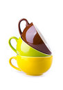 Colorful ceramic cup on white background Stock Image