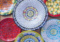 Colorful Ceramic Plates on Display Royalty Free Stock Photo