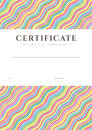 Colorful certificate diploma background template of completion or sample with bright rainbow wave lines pattern and place for text Stock Photos