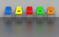 Colorful chair row d generated picture of a Stock Photo