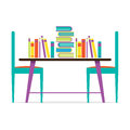 Colorful Chairs And Books On Table Royalty Free Stock Photo