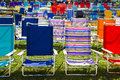 Colorful chairs empty under the sunshine Royalty Free Stock Photos