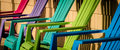Colorful chairs on a front porch in late afternoon light Royalty Free Stock Images