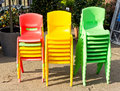 Colorful chairs stacks of plastic children s Royalty Free Stock Photo