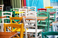 Colorful chairs at a terrace in heraklion city crete Stock Image