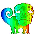 Colorful chameleon imaginative draw of Royalty Free Stock Image