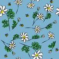 Colorful chamomiles with bees, floral vector seamless pattern
