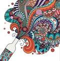 Colorful champagne bottle line art design for poster,banner,illustration. Stock