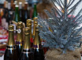 Colorful champagne bottles Royalty Free Stock Images