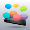 Colorful chatters on the phone vector illustration of Royalty Free Stock Images