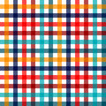 Colorful checkered gingham plaid fabric seamless pattern in blue white red and yellow,  print Royalty Free Stock Photo