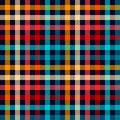 Colorful checkered gingham plaid fabric seamless pattern in blue white red and yellow, vector print Royalty Free Stock Photo