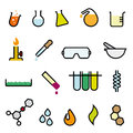 Colorful chemistry icon set collection of cartoonish vector design elements Stock Image