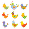 Colorful chickens Stock Images