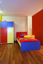 Colorful child bedroom modern interior with furniture Royalty Free Stock Images