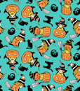 Colorful childlike seamless pattern with witches and pumpkins. Vector halloween pattern. Royalty Free Stock Photo