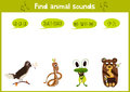 Colorful children cartoon game education puzzle for children on the theme of the study of the sounds of cute wild animals in the f Royalty Free Stock Photo