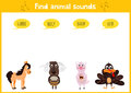 Colorful children cartoon game education puzzle for children on the theme of the study of the sounds of farm animals. Vector Royalty Free Stock Photo