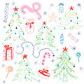 Colorful Children Drawings of Fir trees. Funny Doodle Hand Drawn Winter Holyday`s Symbols. Perfect for Festive Design