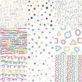 Colorful children hand drawn seamless patterns.