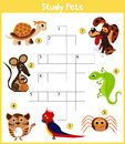 A colorful children's cartoon crossword, education game for children on the topic of learning different types of Pets including ca